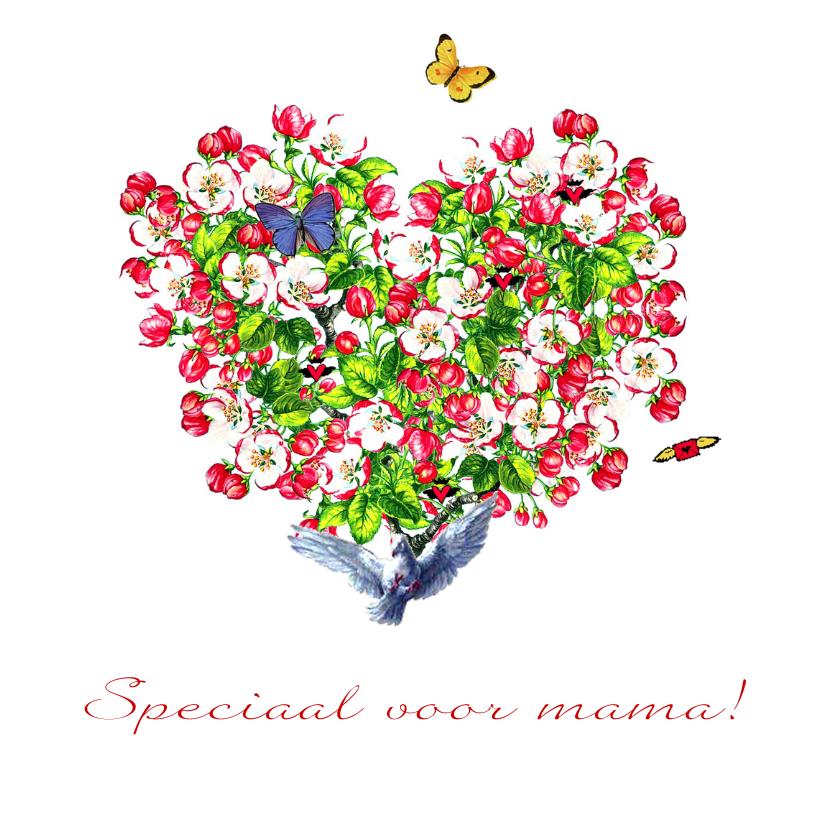 Moederdag kaarten - Moederdagkaart met hart van kersenbloesem bloemen