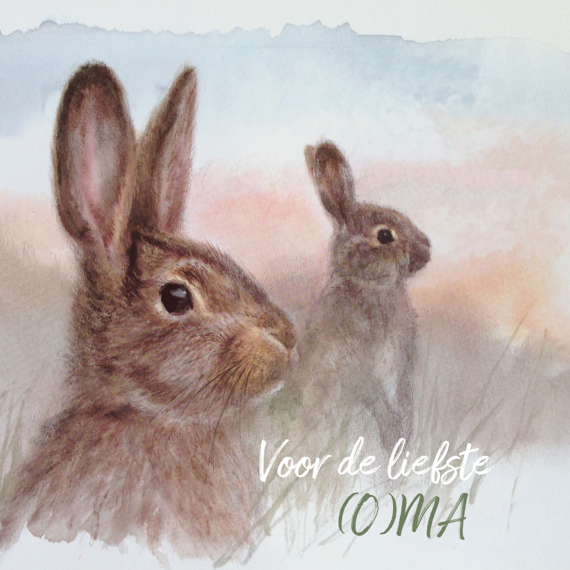 Moederdag kaarten - Moederdagkaart met konijn