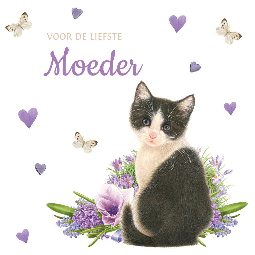 Moederdag kaarten - Moederdagkaart met lieve zwart-witte kitten met lila bloemen