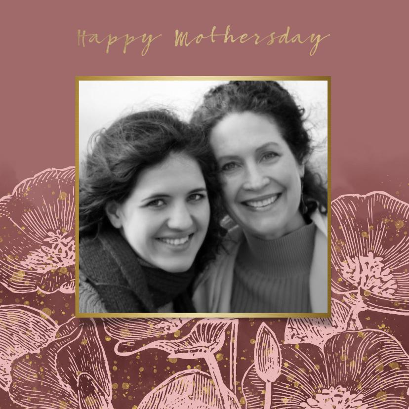 Moederdag kaarten - Moederdagkaart met roze bloemen, waterverf & gouden spetters