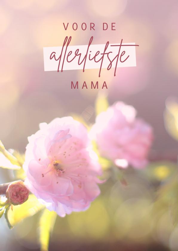 Moederdag kaarten - Moederdagkaart met roze bloemen
