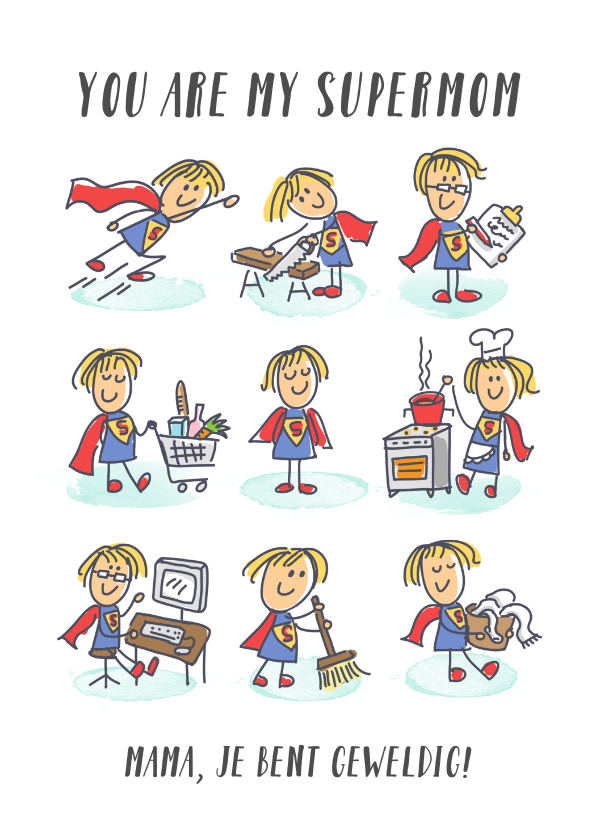 Moederdag kaarten - Moederdagkaart met supermoeders