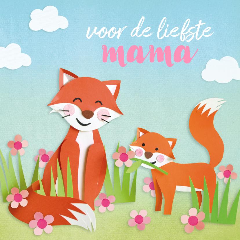 Moederdag kaarten - Moederdagkaart met vosjes