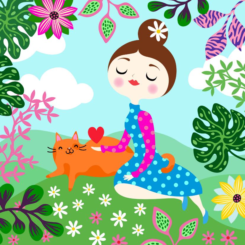 Moederdag kaarten - Moederdagkaart met vrolijk meisje, kat, planten en hart