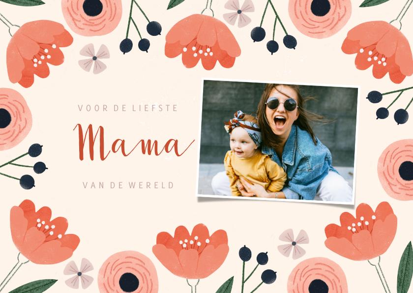 Moederdag kaarten - Moederdagkaart roze bloemen, liefste mama en foto