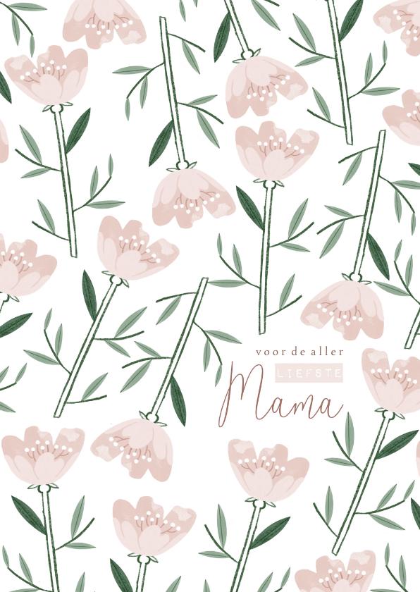 Moederdag kaarten - Moederdagkaart roze bloemen patroon liefste mama