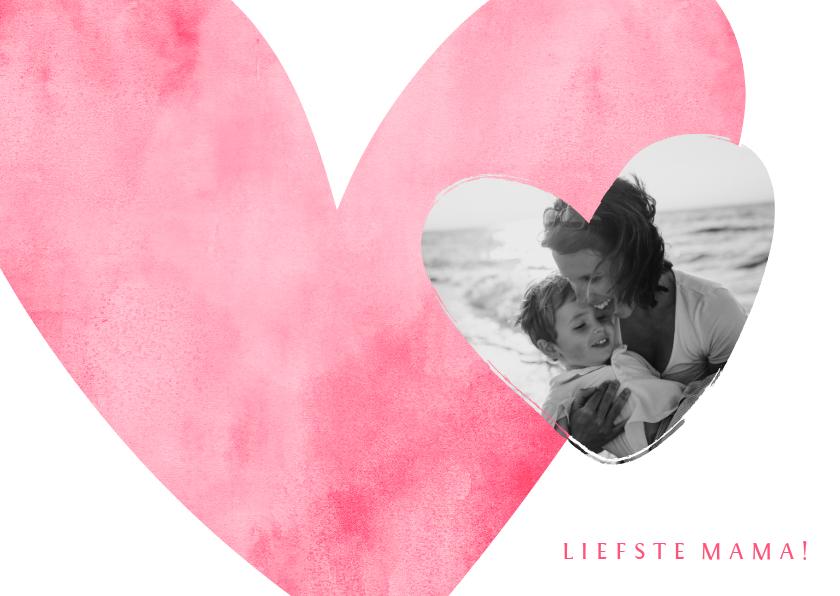 Moederdag kaarten - Moederdagkaart roze hart met foto in hartje