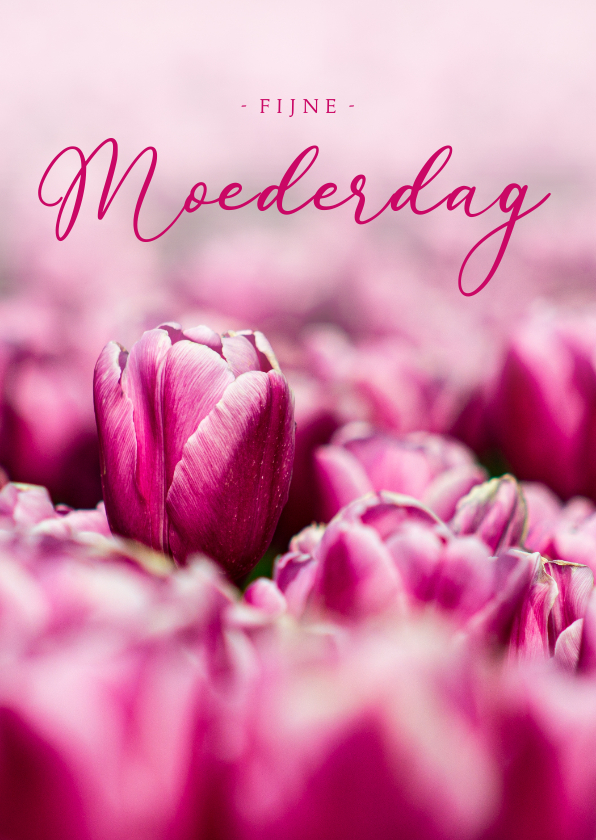 Moederdag kaarten - Moederdagkaart roze tulpen fijne Moederdag