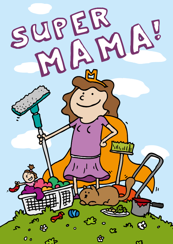 Moederdag kaarten - Moederdagkaart superheld mama!