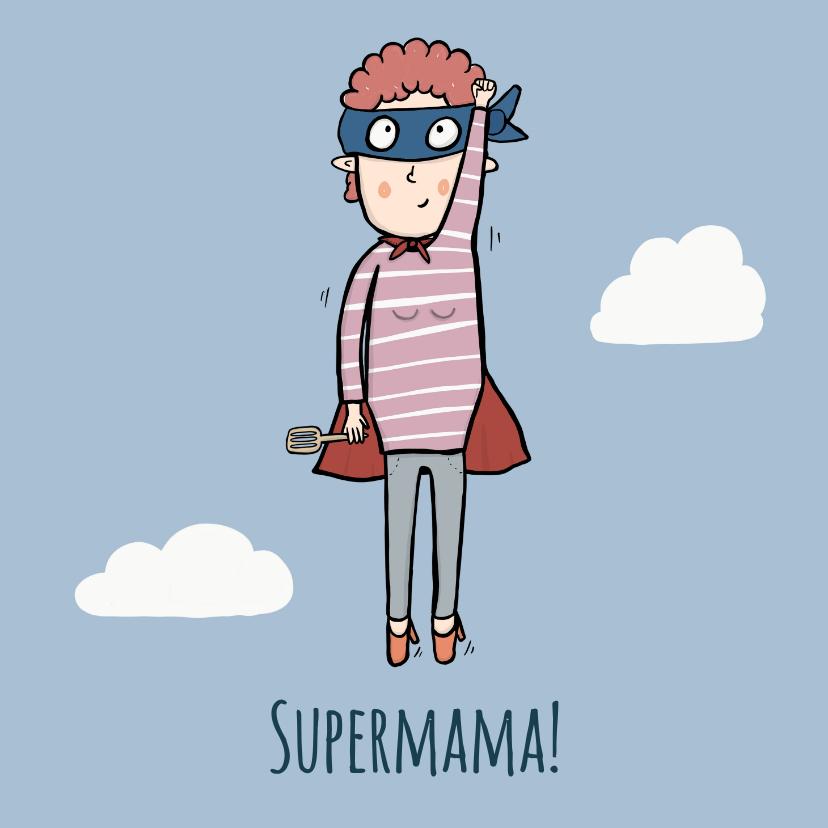 Moederdag kaarten - Moederdagkaart Supermama in de wolken!