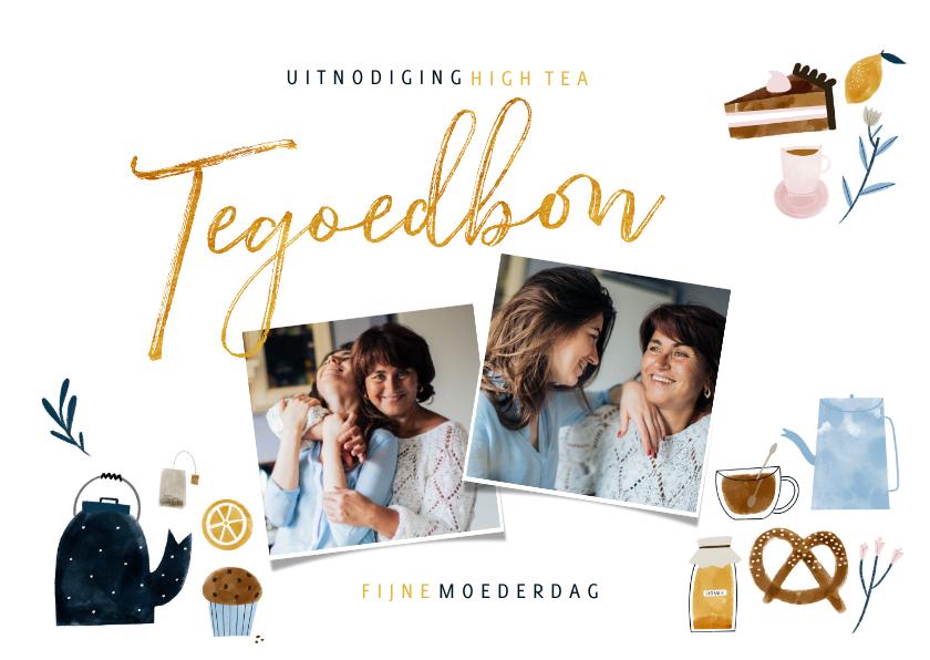 Moederdag kaarten - Moederdagkaart tegoedbon High Tea met foto's en illustraties
