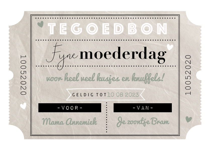 Moederdag kaarten - Moederdagkaart tegoedbon vintage coupon en typografie