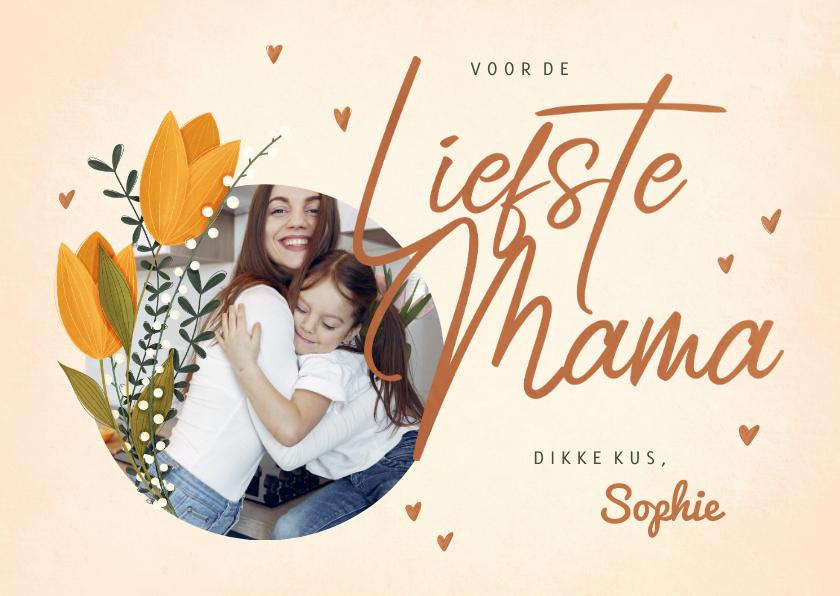 Moederdag kaarten - Moederdagkaart voor de liefste mama met foto en tulpen