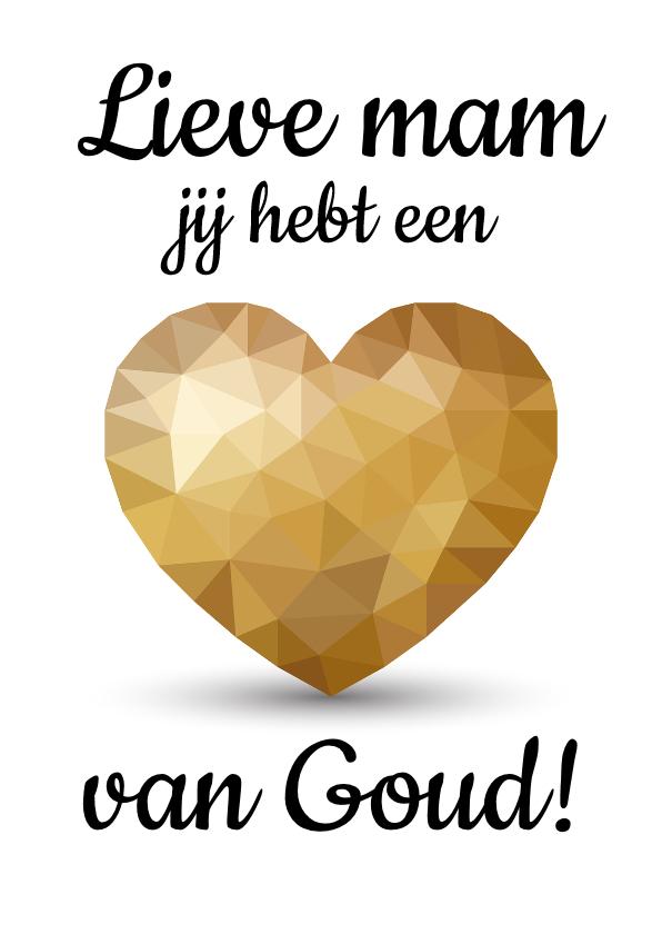 Moederdag kaarten - Moederdagkaart voor moeder met gouden hart