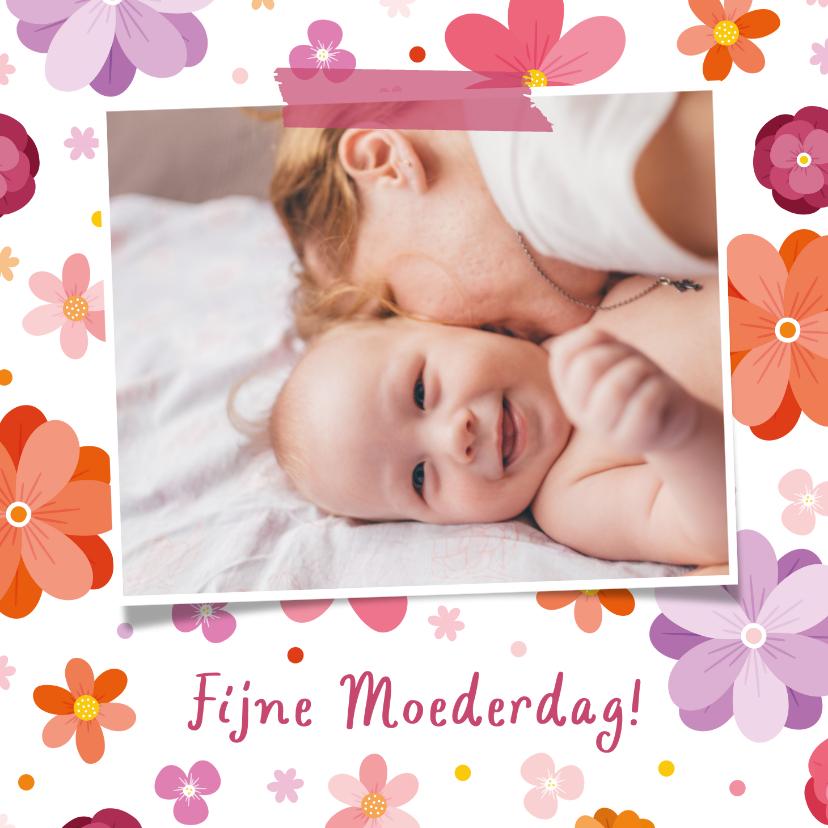 Moederdag kaarten - Moederdagkaart vrolijke bloemen met foto