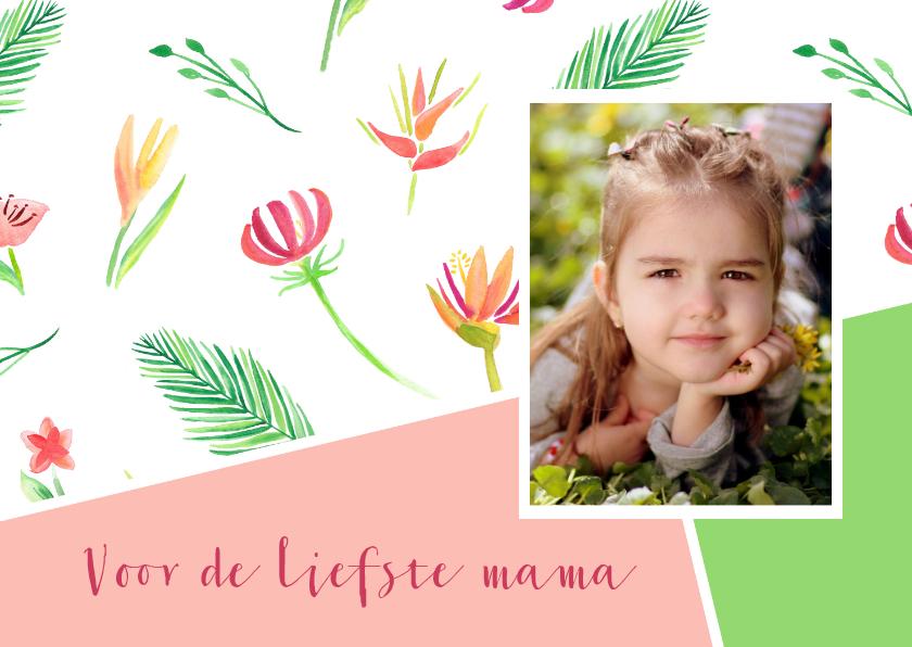 Moederdag kaarten - Moederdagkaart waterverf bloemen en foto
