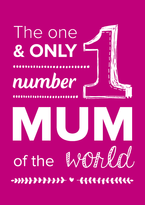 Moederdag kaarten - Number 1 mum of the world