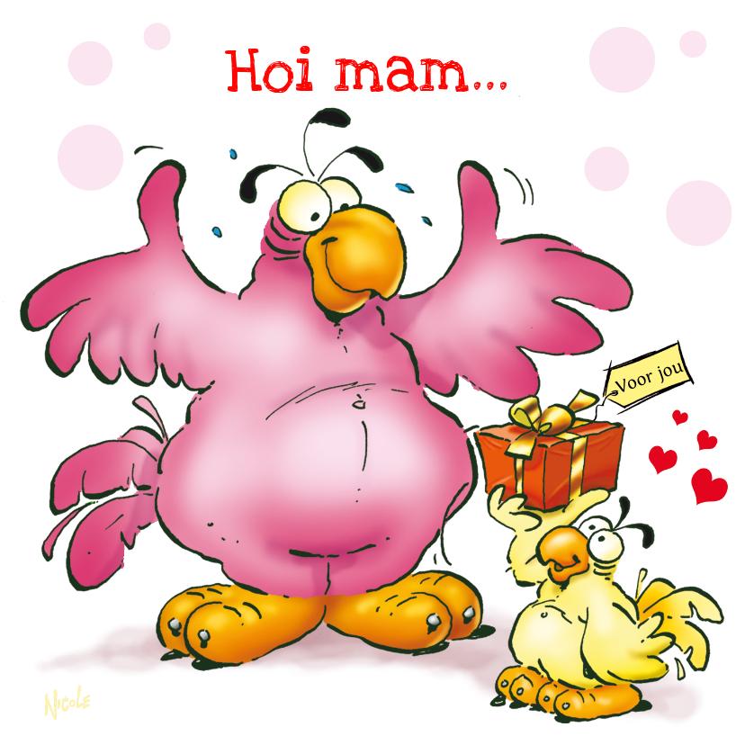 Moederdag kaarten - Rocco moederdag 6 papegaai met cadeau