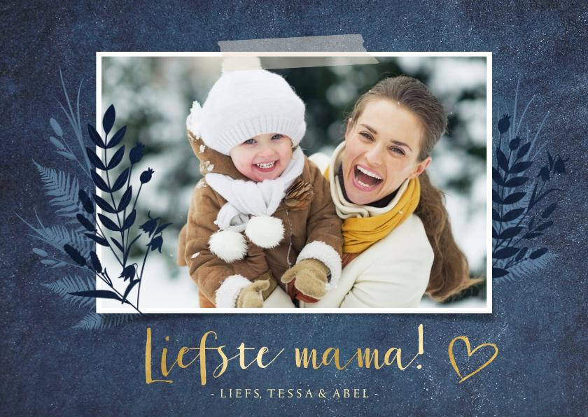 Moederdag kaarten - Stijlvolle botanische moederdagkaart met grote foto