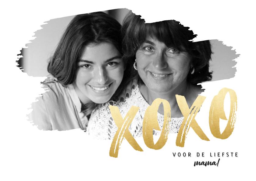 Moederdag kaarten - Stijlvolle moederdag kaart met grote foto en gouden XOXO