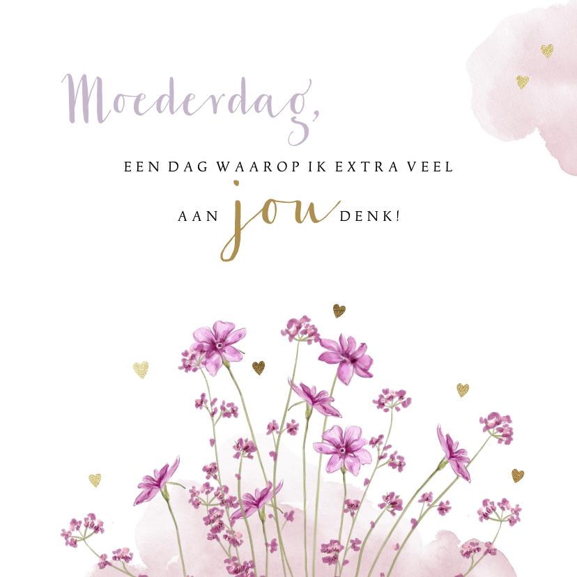 Moederdag kaarten - Stijlvolle moederdagkaart met veldbloemetjes en waterverf