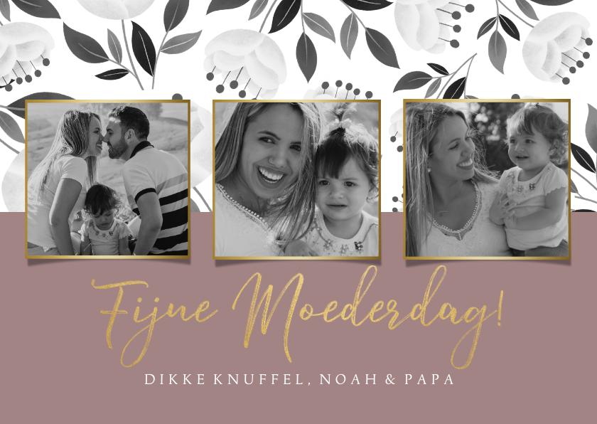 Moederdag kaarten - Stijlvolle moederdagkaart met witte bloemen en typografie