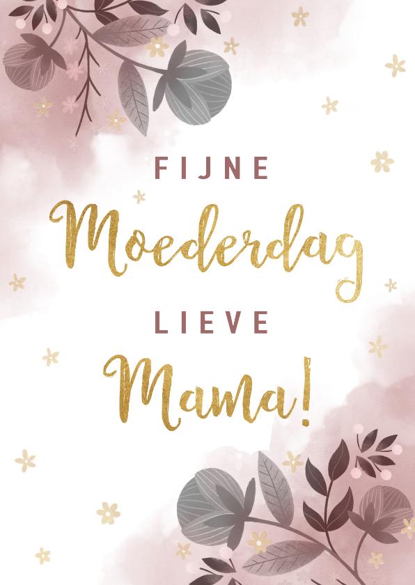 Moederdag kaarten - Stijlvolle moederdagkaart waterverf, bloemen en typografie