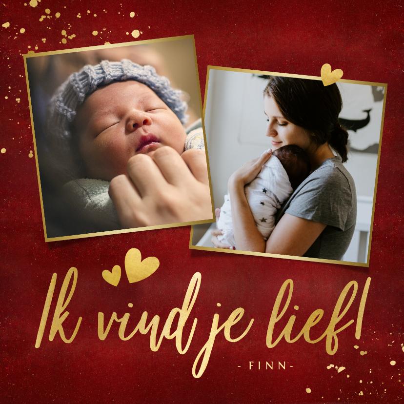 Moederdag kaarten - Stijlvolle rode moederdagkaart fotocollage met 2 foto's