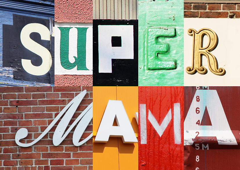 Moederdag kaarten - Supermama - letters