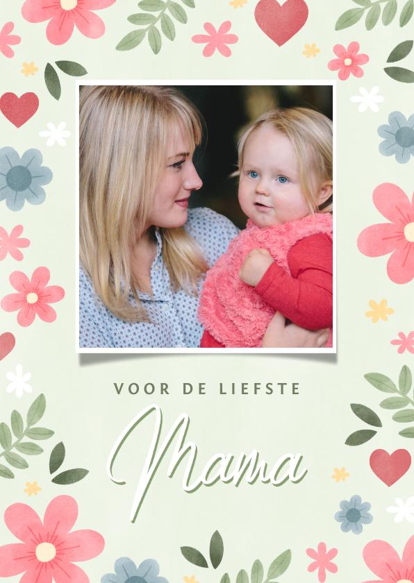 Moederdag kaarten - Vrolijke moederdag kaart met bloemen hartjes en foto
