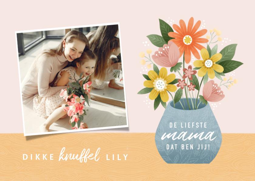 Moederdag kaarten - Vrolijke moederdag kaart met bosje bloemen en foto