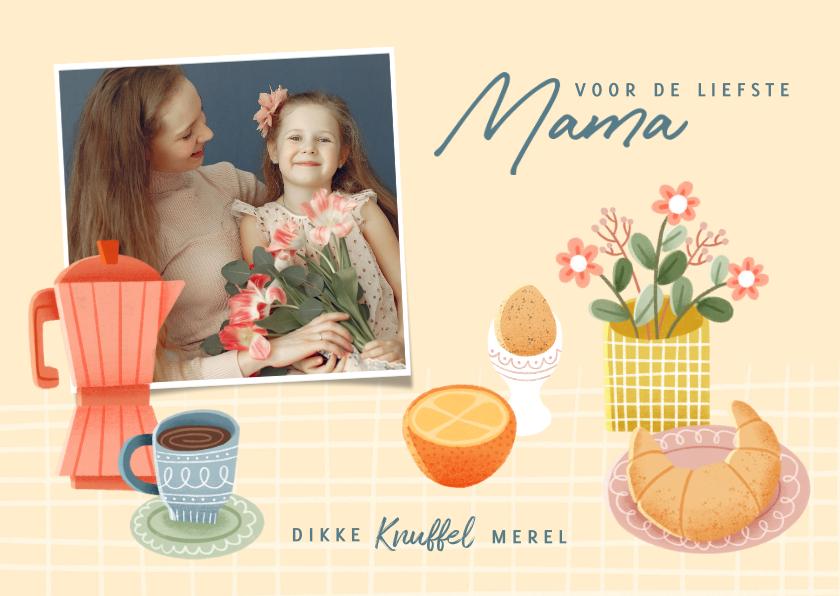 Moederdag kaarten - Vrolijke moederdag kaart met ontbijtje, bloemen en foto