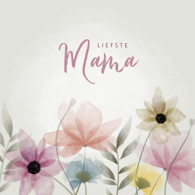 Moederdag kaarten - Vrolijke moederdag kaart met waterverf bloemen en takjes