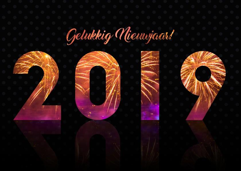 d656bd50394a28 Nieuwjaarskaarten - 2019 gelukkig nieuwjaar met vuurwerk