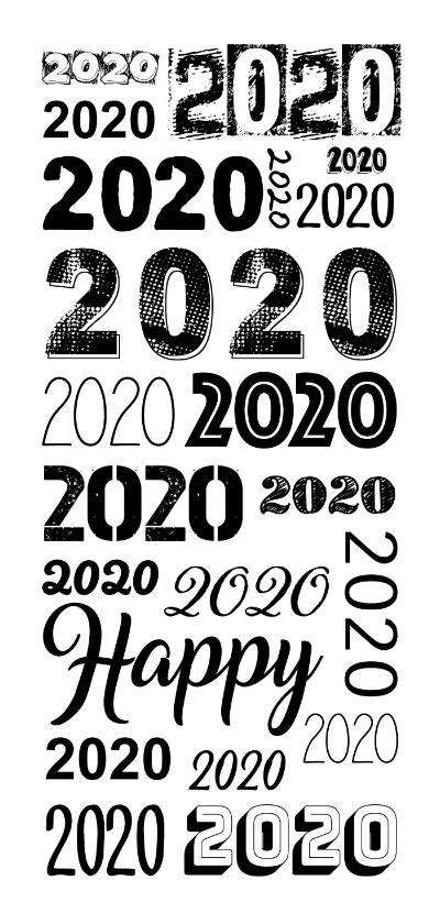 Nieuwjaarskaarten - 2020 herhaald in verschillende lettertypes