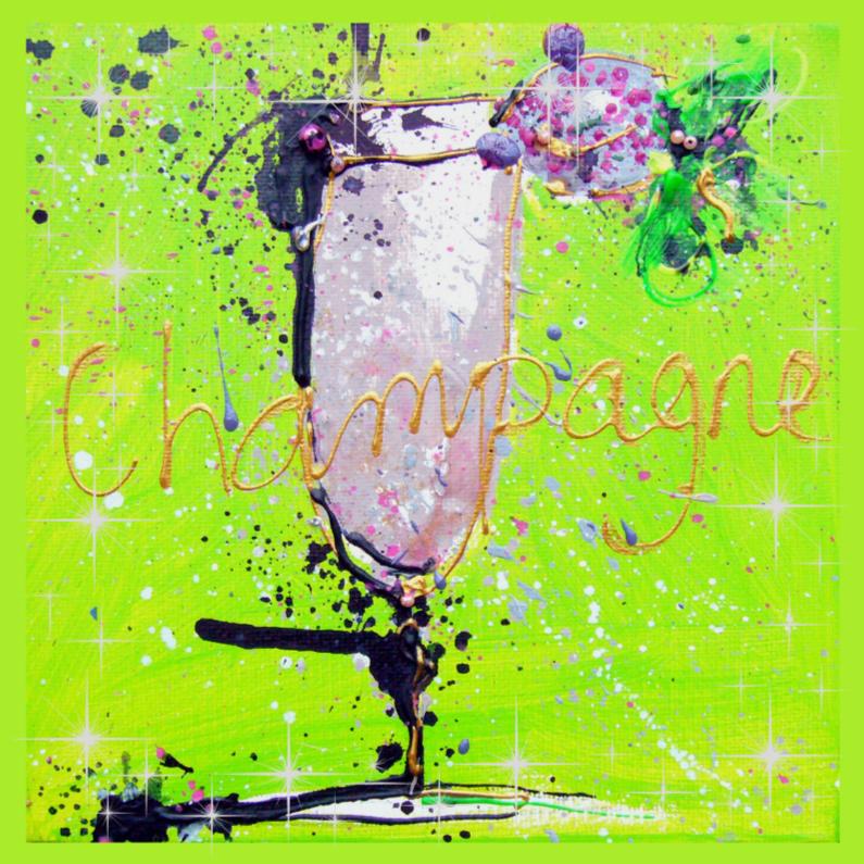 Nieuwjaarskaarten - Champagne glas als nieuwjaarskaart
