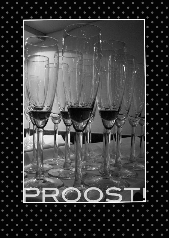 Nieuwjaarskaarten - Champagne zwart