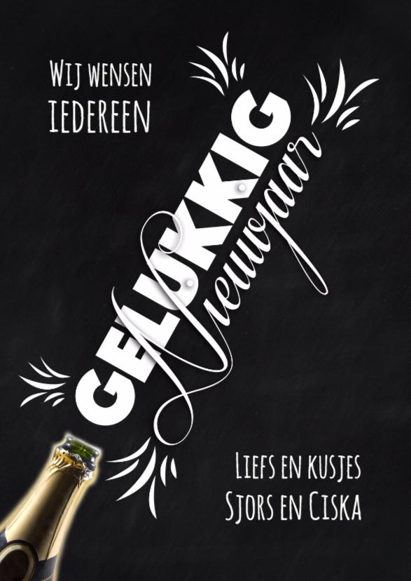 Nieuwjaarskaarten - Champagnefles nieuwjaarskaart