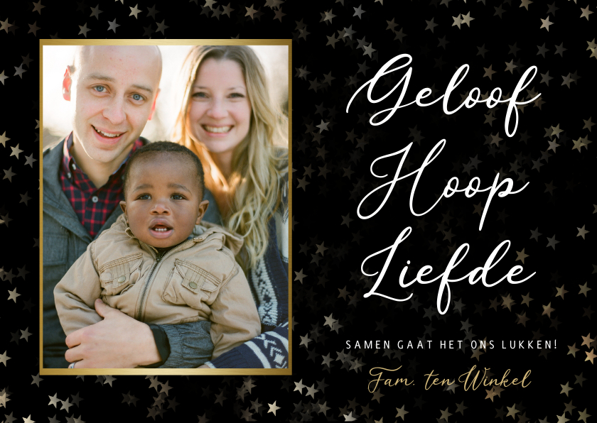 Nieuwjaarskaarten - Christelijke nieuwjaarskaart - geloof hoop en liefde