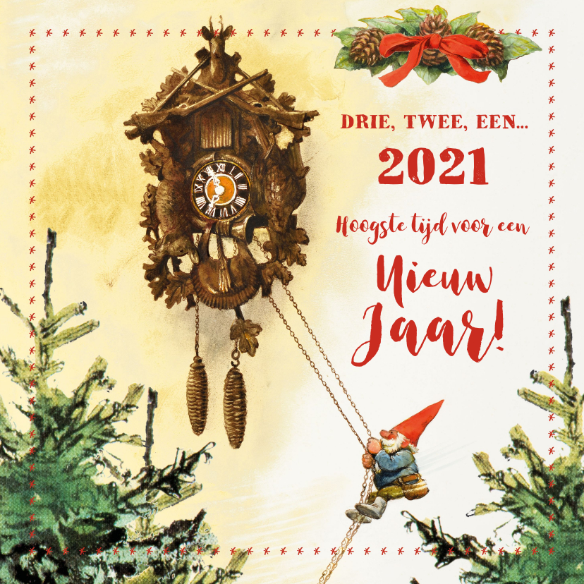 Nieuwjaarskaarten - De kabouter luidt het nieuwe jaar in aan de koekoeksklok