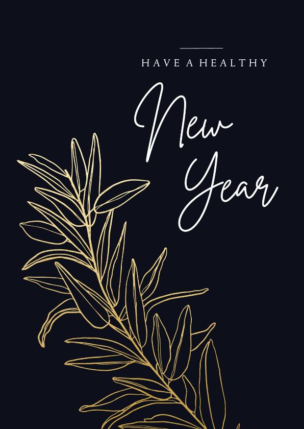 Nieuwjaarskaarten - Donkerblauwe stijlvolle nieuwjaarskaart met gouden tak