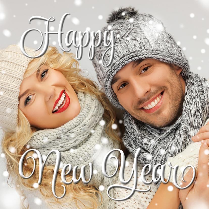 Nieuwjaarskaarten - Eigen foto Happy New Year wit 2019