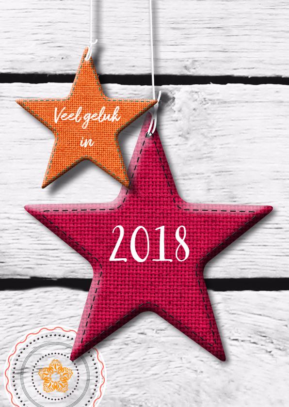 Nieuwjaarskaarten - eigen tekst en ster op houtprint