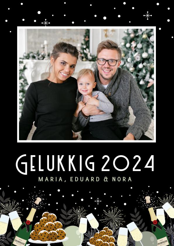 Nieuwjaarskaarten - Feestelijke nieuwjaarskaart champagne, oliebollen en foto