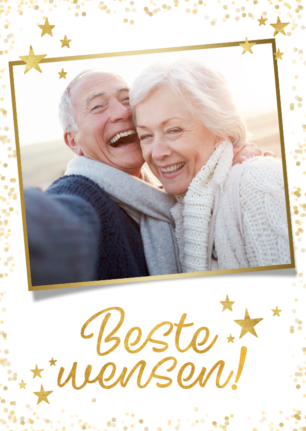 Nieuwjaarskaarten - Feestelijke nieuwjaarskaart met gouden sterren en typografie