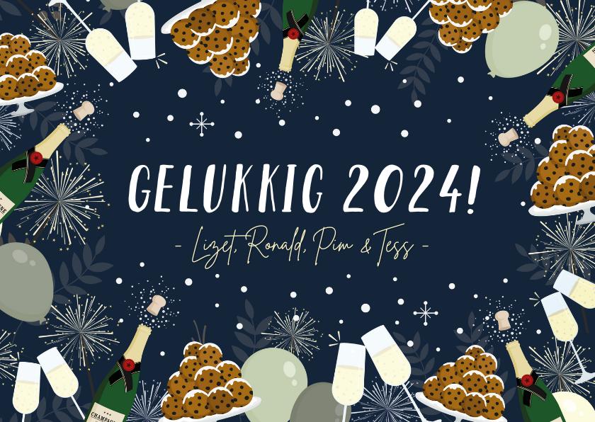 Nieuwjaarskaarten - Feestelijke nieuwjaarskaart oliebollen, vuurwerk & champagne