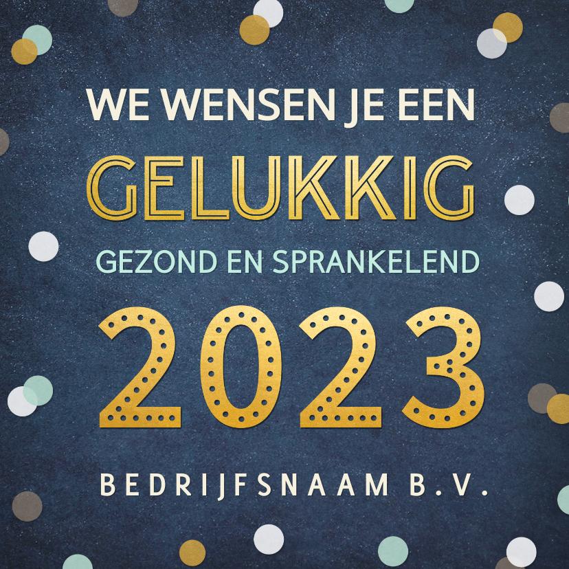 Nieuwjaarskaarten - Feestelijke zakelijke nieuwjaarskaart met confetti en goud