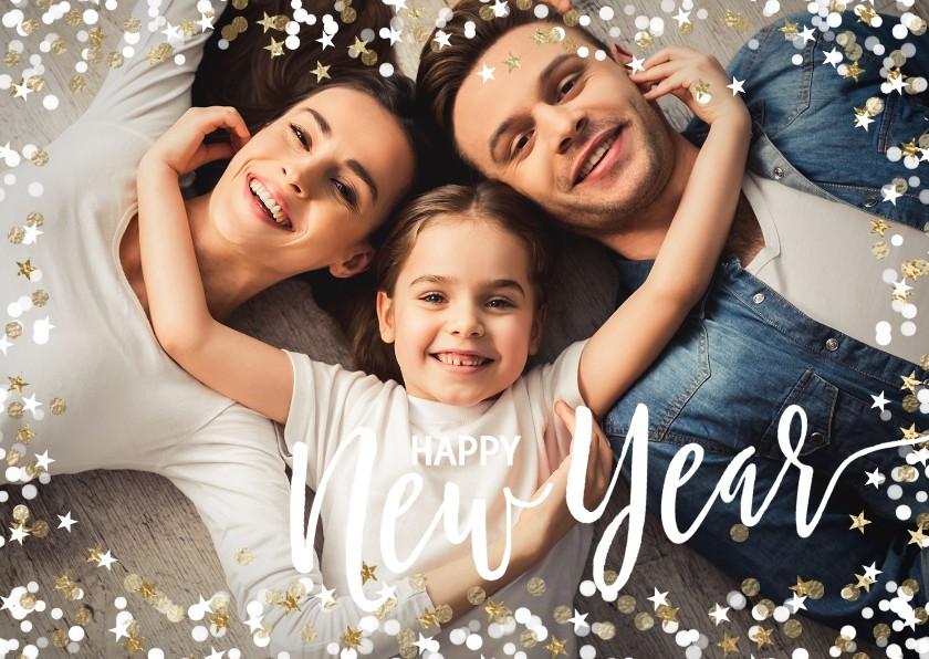 Nieuwjaarskaarten - Foto Nieuwjaarskaart confetti liggend