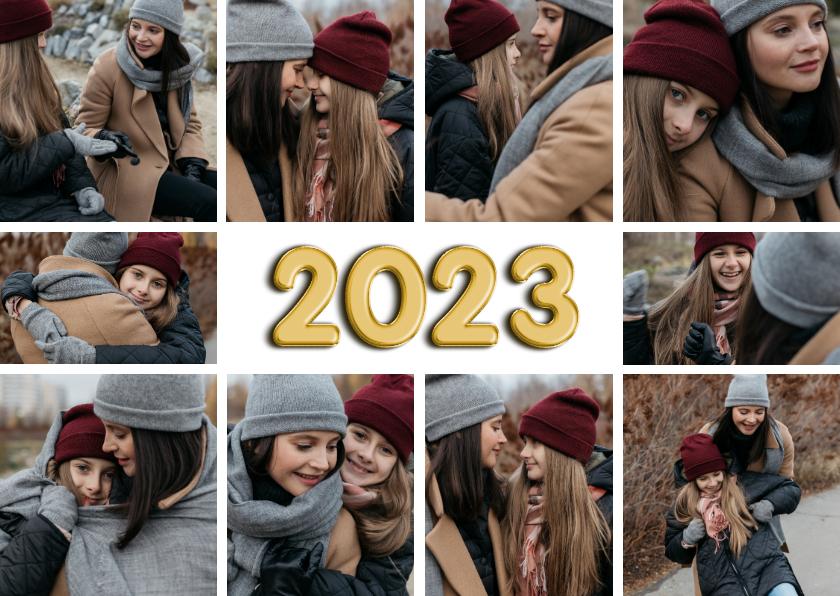 Nieuwjaarskaarten - Fotocollage 10 foto's 2022 folieballon