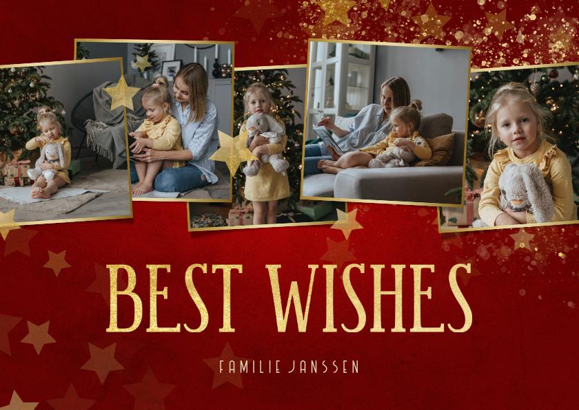 Nieuwjaarskaarten - Fotocollage nieuwjaarskaart rood met sterren